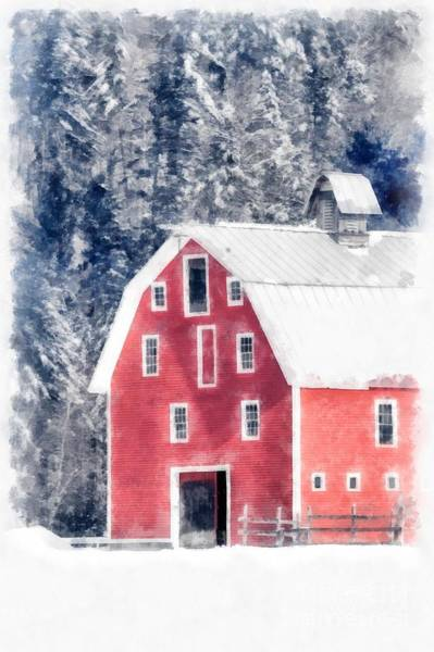 Wall Art - Digital Art - Traditional Red Barn Croydon New Hampshire Winter Watercolor by Edward Fielding