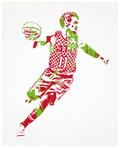 Wall Art - Mixed Media - Trae Young Atlanta Hawks Pixel Art 1 by Joe Hamilton