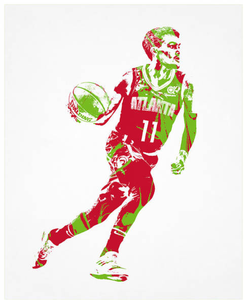 Wall Art - Mixed Media - Trae Young Atlanta Hawks Pixel Art 2 by Joe Hamilton
