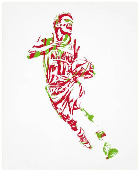 Wall Art - Mixed Media - Trae Young Atlanta Hawks Pixel Art 3 by Joe Hamilton