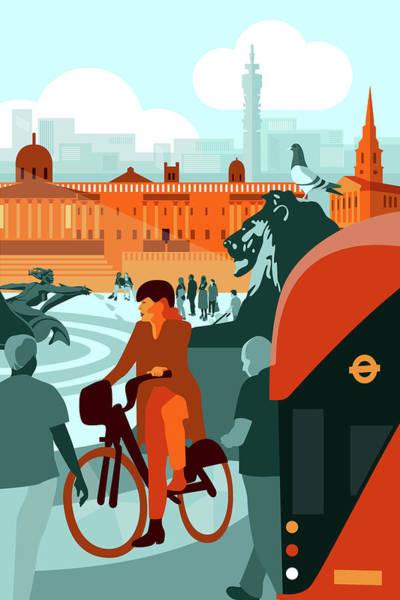 Town Square Digital Art - Trafalgar Square by Claire Huntley
