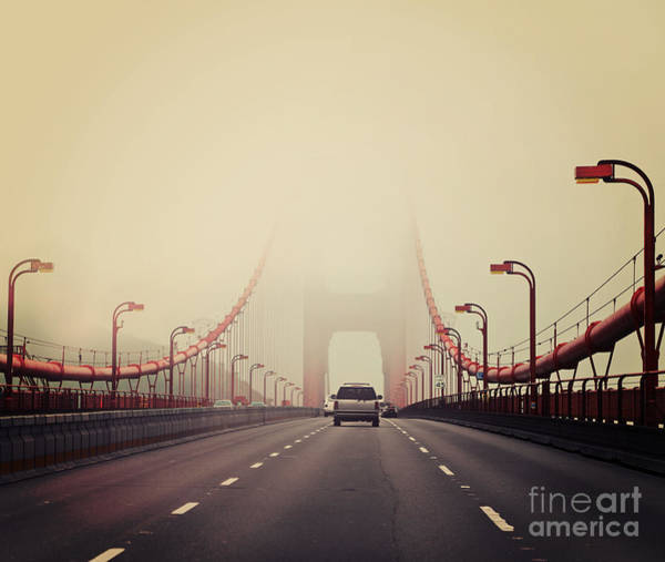 Pollution Photograph - Traffic Crossing A Foggy Golden Gate by Stuart Monk