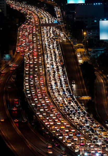 Pollution Photograph - Traffic Jam On Express Way Bangkok by Worldwide
