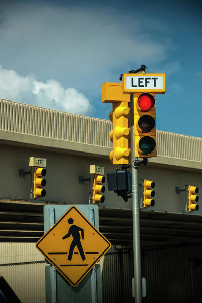Photograph - Traffic Lights And Left Turn Signal With Pedestrian Sign by Randall Nyhof