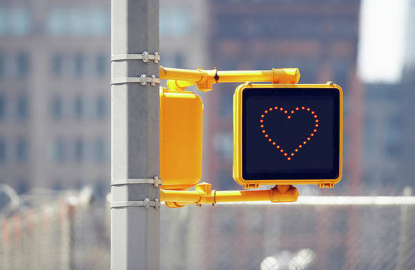 Romance Photograph - Traffic Sign With Heart Shape by Richard Newstead