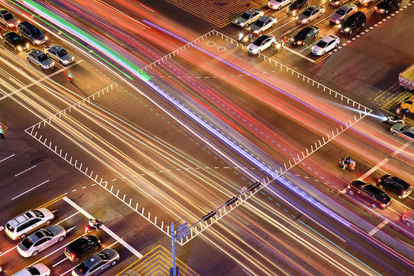 Traffic Trails Of Intersection Art Print