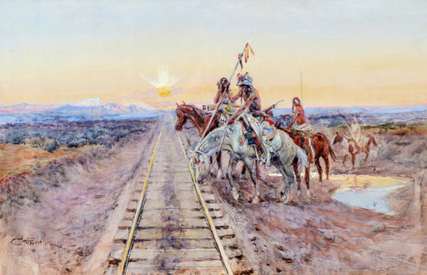 Wall Art - Painting - Trail Of The Iron Horse, 1924 by Charles M Russell