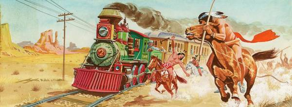 Daring Painting - Train Being And Native American Indians by English School