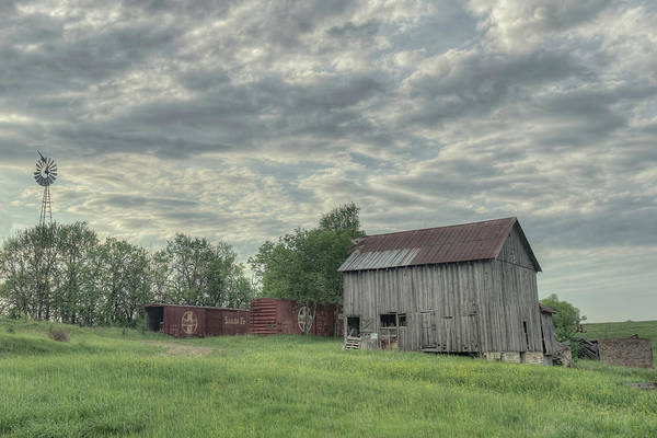 Train Cars And A Barn Art Print