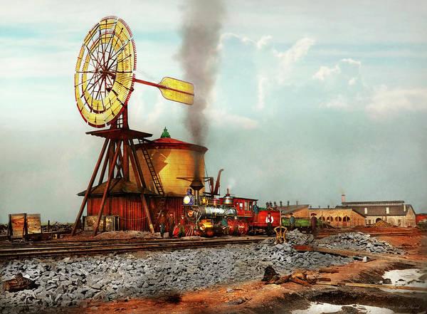 Photograph - Train - Civil - The Windmill At Laramie 1869 by Mike Savad