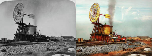Photograph - Train - Civil - The Windmill At Laramie 1869 - Side By Side by Mike Savad
