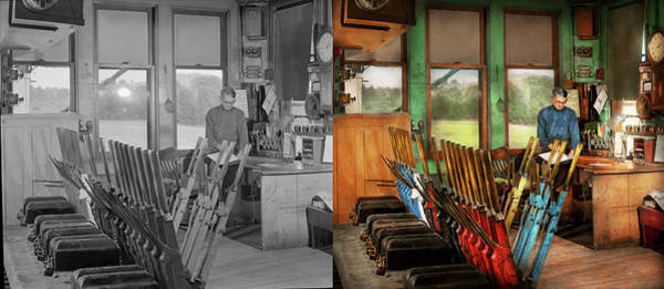 Photograph - Train - Controls - In The Signal Tower 1940 - Side By Side by Mike Savad