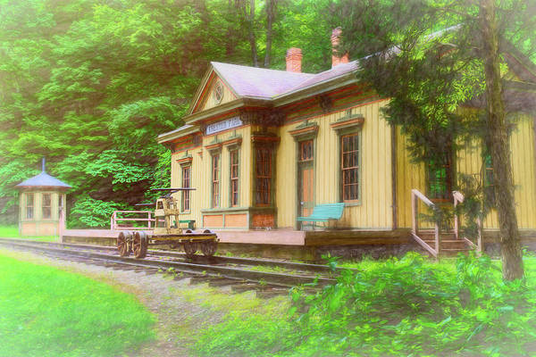 Train Depot With Hand Car Art Print
