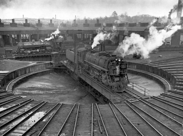 Photograph - Train Engine On Turntable At Union by Alfred Eisenstaedt