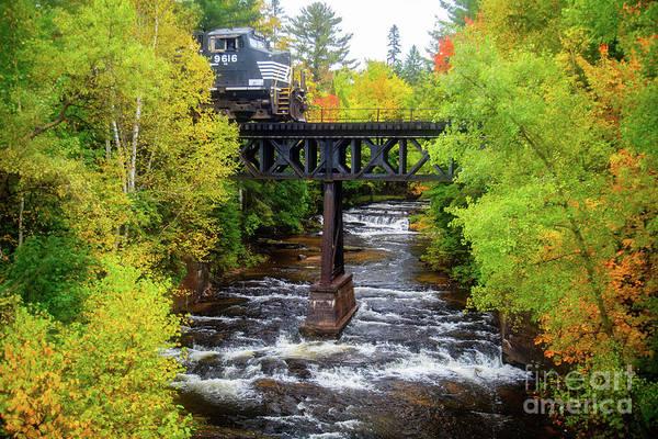 Wall Art - Photograph - Train On Bridge by Todd Bielby