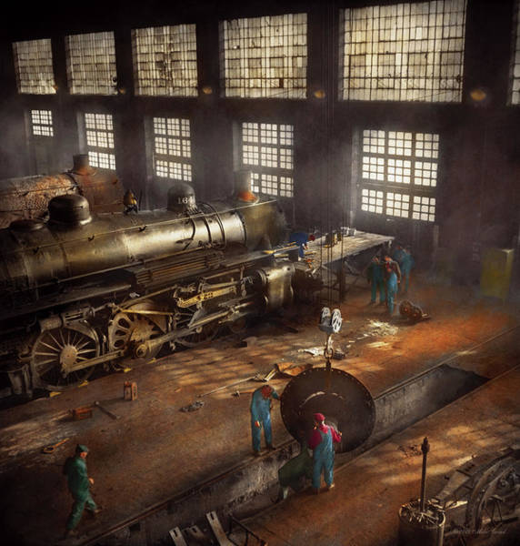 Photograph - Train - Repair - Third Door On The Right 1942 by Mike Savad