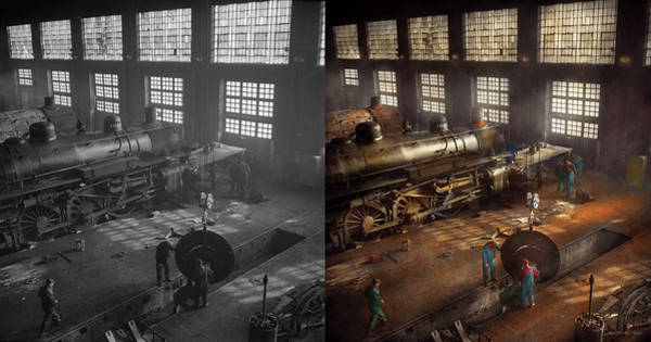 Photograph - Train - Repair - Third Door On The Right 1942 - Side By Side by Mike Savad