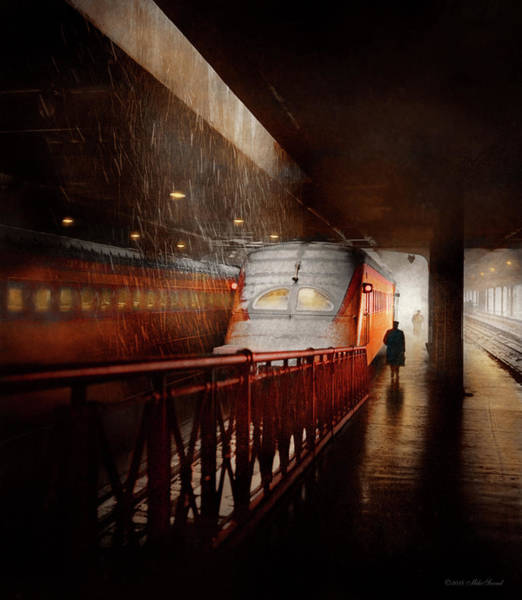 Photograph - Train - Retro - Last Train Of The Day 1943 by Mike Savad