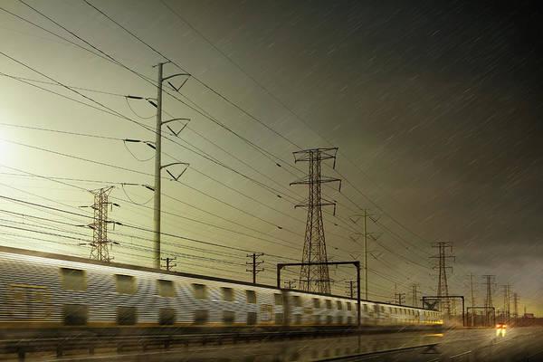 Train Tracks Digital Art - Train Speeding By Power Lines by Chris Clor