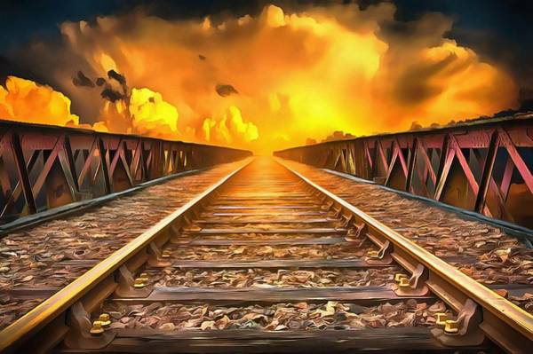 Wall Art - Painting - Train To Heaven by Harry Warrick