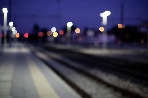Wall Art - Photograph - Train Tracks At Night by Francesca Guadagnini