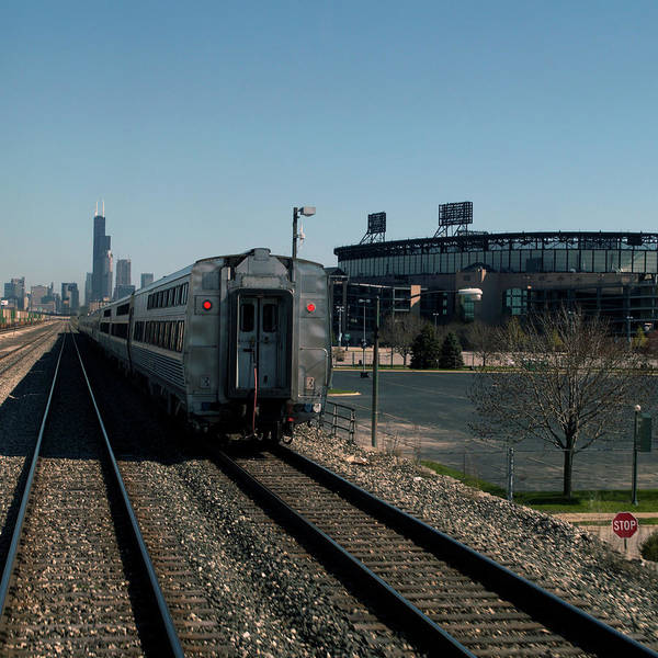 Wall Art - Photograph - Trains Passing The Home Of The Chicago White Sox Sq Format by Thomas Woolworth
