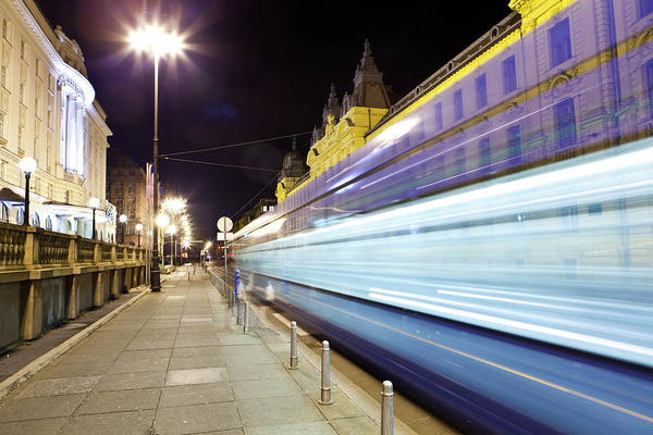 Stop Light Photograph - Tram In Motion, Zagreb, Croatia by Tim E White