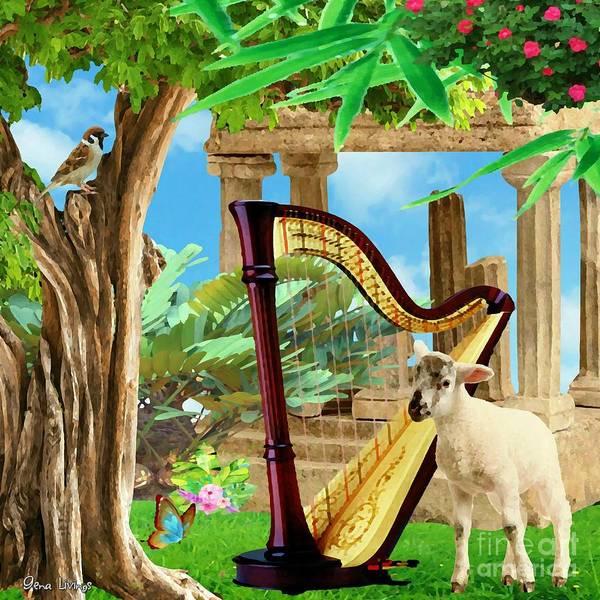 Harp Digital Art - Tranquil Harp Garden by Gena Livings