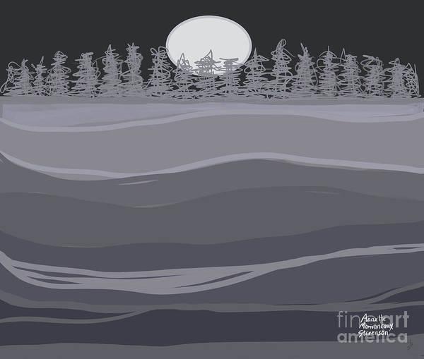 Digital Art - Tranquil Landscape Night Sky And Moon by Annette M Stevenson