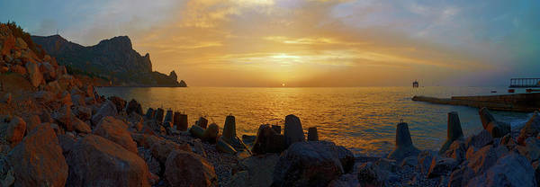 Waters Edge Photograph - Tranquil Sunrise At Crimea Beach In by Nikamata