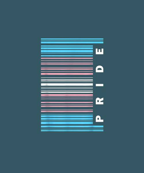 Barcode Digital Art - Transgender Pride Flag Barcode Lgbt Shirt by Unique Tees