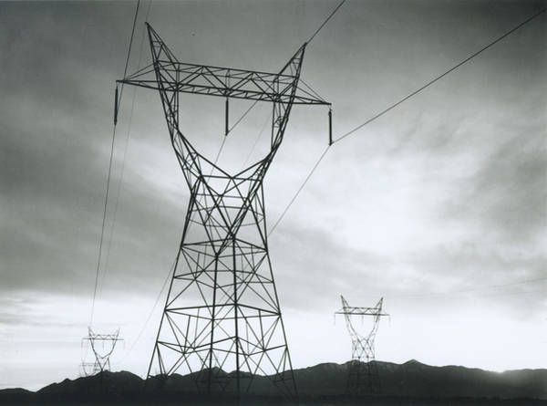 Horizontal Landscape Photograph - Transmission Lines In Mojave Desert by Archive Photos