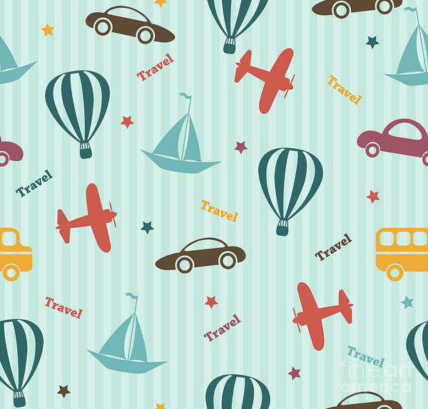 Celebration Digital Art - Transport Seamless Pattern. Kids by Pani Monica