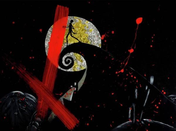 Skellington Painting - Trash Polka Nightmare by Kolleen Hanks