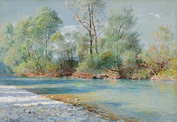 Alpine Meadow Painting - Traunstein River On The Road To Empfig, Bavaria, 1896 by William Stanley Haseltine