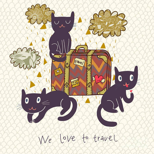 Wall Art - Digital Art - Travel Concept. Cute Cats And Suitcase by Smilewithjul
