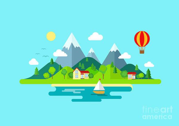 Harmony Digital Art - Travel Mountains Island Landscape And by Sentavio