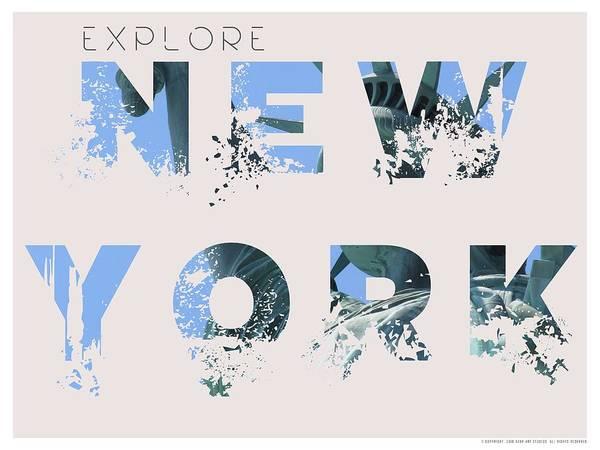 Manhattan Skyline Painting - Travel New York Minimalist Travel Poster by Celestial Images