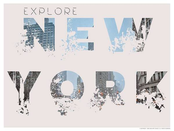 Manhattan Skyline Painting - Travel New York Minimalist Travel Poster V2 by Adam Asar