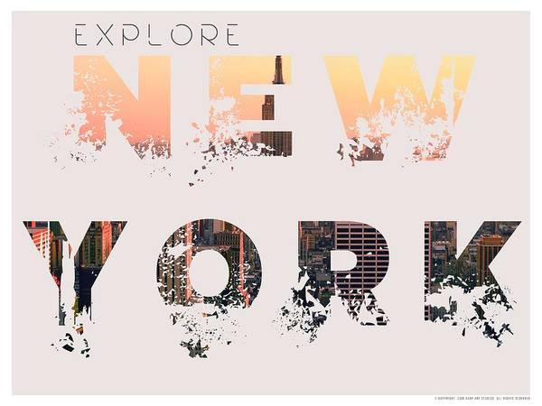 Manhattan Skyline Painting - Travel New York Minimalist Travel Poster V3 by Adam Asar