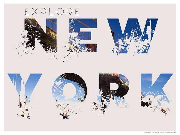 Manhattan Skyline Painting - Travel New York Minimalist Travel Poster V4 by Celestial Images