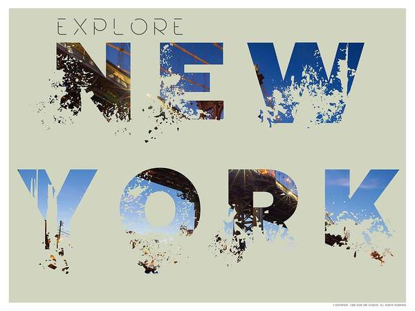 Wall Art - Painting - Travel New York Minimalist Travel Poster V5 by Adam Asar