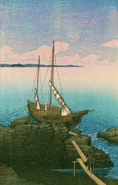 Wall Art - Painting - Travel Souvenir First Collection, Boshu, Stone Pile - Digital Remastered Edition by Kawase Hasui