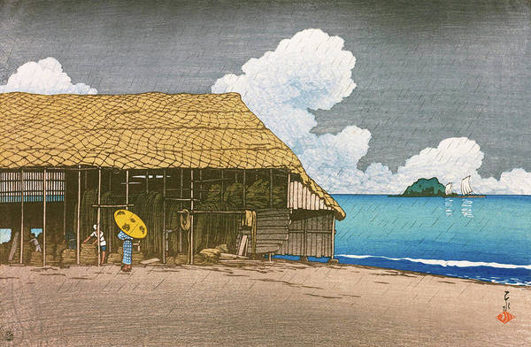 Wall Art - Painting - Travel Souvenir Second Collection, Beach Hut, Ecchuu Himi - Digital Remastered Edition by Kawase Hasui