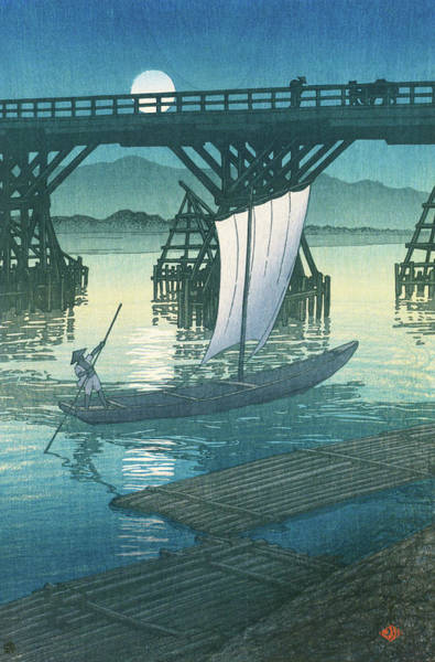 Wall Art - Painting - Travel Souvenir Second Collection, Ojiya, Asahi Bridge - Digital Remastered Edition by Kawase Hasui