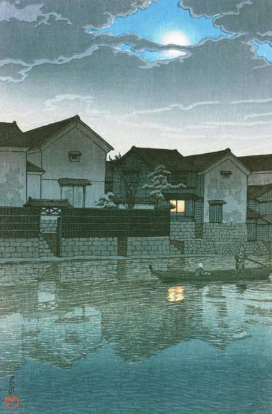Wall Art - Painting - Travel Souvenir Third Collection, Izumo, Matsuem, Hazy Moon - Digital Remastered Edition by Kawase Hasui
