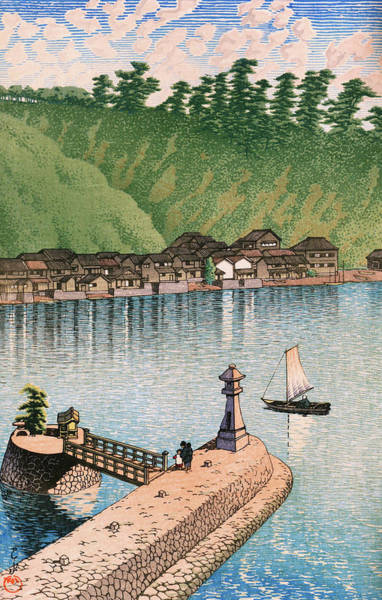 Wall Art - Painting - Travel Souvenir Third Collection, Izumo, Mihogaseki - Digital Remastered Edition by Kawase Hasui
