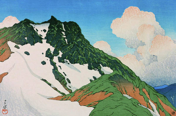 Wall Art - Painting - Travel Souvenir Third Collection, Mount Asahi Seen From Mount Hakuba - Digital Remastered Edition by Kawase Hasui