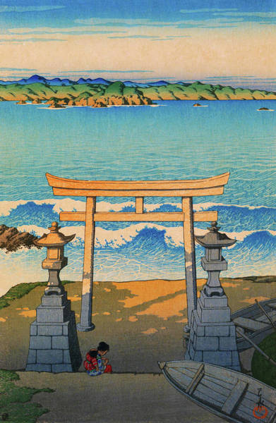 Wall Art - Painting - Travel Souvenir Third Collection, Pacific Ocean, Boshu - Digital Remastered Edition by Kawase Hasui