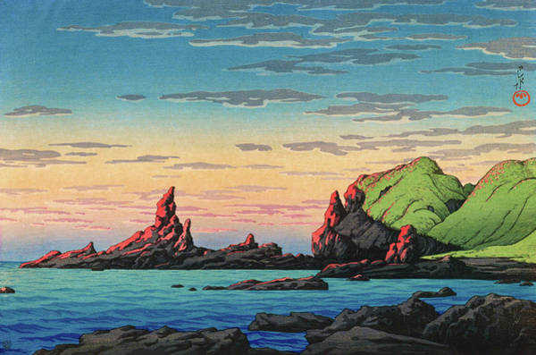 Wall Art - Painting - Travel Souvenir Third Collection, Ryuga Island, Oga Peninsula - Digital Remastered Edition by Kawase Hasui